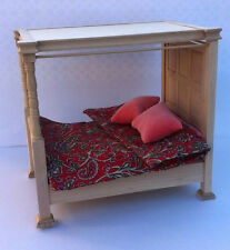 Double Four Poster Tudor Bed with Paisley Bedding Barewood Dolls House Miniature