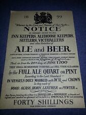ALE and BEER Poster 1699 Notice To Inn Keepers