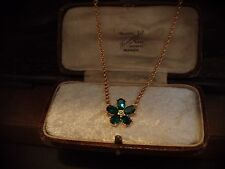 Vintage Peridot Emerald Green Crystal Flower Necklace Pendant, Gold Chain