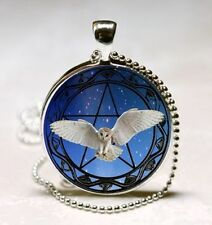 Vintage Owl Cabochon Silver plated Glass Ball Chain Pendant Necklace cv71