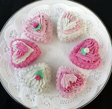 SET OF 6 PRETTY PINK HEART PETIT FOURS