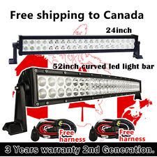52inch 300W Curved LED Light Bar + 24inch 120W LED Work Light Bars Offroad Jeep