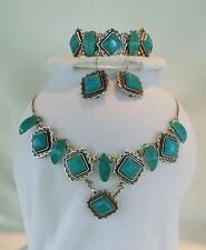 NATURAL TURQUOISE SILVER PLATED JEWELRY SET (NECKLACE, EARRINGS & BRACELET)