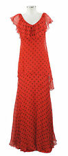 Ann Marks Paris Abendkleid rot schwarz 36 38 Seide polka dots evening dress