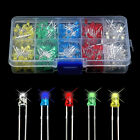 500pcs 3mm Round Red/Green/Blue/Yellow/White Water Clear LED Light Diodes Kit