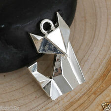 4 Fox Charms Silver Plated Foxes Sleek Foxes Charms Origami Style  Pendants 22mm