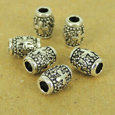 6 PCS 925 Sterling Silver Cross Barrel Beads Vintage Jewelry Making WSP446X6