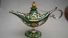 """7.78"""" Handwork Miao Silver & Cloisonne Carving Flower Magical Aladdin Lamp Green"""