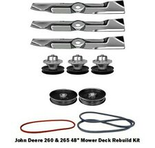 "48"" Mower Deck Rebuild Kit Fits John Deere 260 265 Blades Pulleys Spindles (121)"
