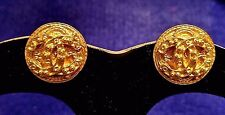 Authentic CHANEL Paris CC Logo Gold Plated Button Clip On Round EARRINGS SIGNED