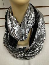 All Season Light Metallic Jersey Infinity Circle Eternity Scarf Shinny Silver