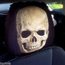 CAR SEAT HEAD REST COVER 2 PACK BROWN SKULL DESIGN MADE IN YORKSHIRE