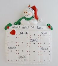Personalized Single Snowman Blanket Quilt Family Christmas Ornament