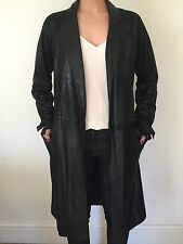 Patrizia Pepe slim fit luxe boho style black nappa leather coat trench UK8 IT40