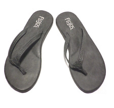 Flojos Women's Eve Thong Flip-Flop Sandals Padded Arch Support Charcoal Size 6