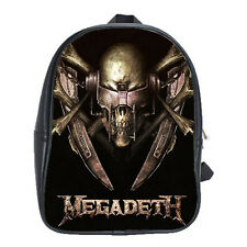 Megadeath Vintage Rock Concert Leather Backpack Schools Books Bags Laptops