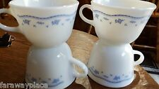 4 Pyrex Corning Ware Corelle Morning Blue Milk Glass Coffee Tea Cups Mugs