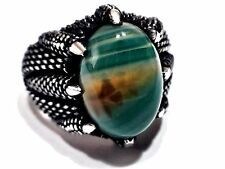 Claw Turkish Ottoman Natural Agate Gemstone 925 Sterling Silver Men Ring T085