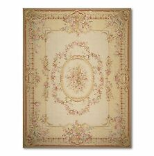 9x12 SUPER FINE HANDMADE FRENCH NEEDLEPOINT RUG - AUBUSSON 100% WOOL HANDWOVEN