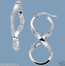"1 1/4"" Polished Twisted Figure 8 Hoop Earrings Real 14K White Gold 2.1gr"