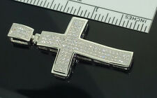 Mens Cross Pendant Sterling Silver With CZ 2 inches Tall Pave Set Iced out Cross