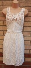 NEW LOOK FLORAL LACE CREAM IVORY SKATER V BACK FLIPPY A LINE VTG DRESS 14 L