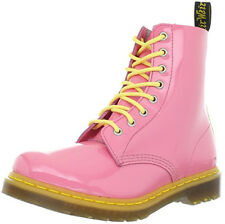 Dr Martens Pink Yellow Pascal 8 Eyelet Patent Leather Boots UK 8 / EU 42