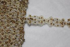 """2.25 yards white embroidered organza gold beads pearls sewing Trim 1/2"""" wide A2"""