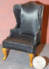 Dollhouse Miniature Living Room Wingback Black Chair  1:12 one inch scale E7