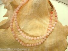 """5mm 1-Strand Calibrated Natural Pacific Pink Coral Round Bead Necklace 18"""" #2"""