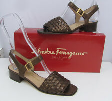 SALVATORE FERRAGAMO BOUTIQUE SHOES NIB $190.00 BRUGES WOVEN BRONZE LEATHER 7 AA