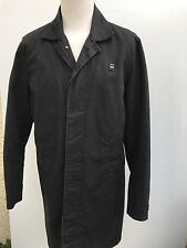 L@@K G-STAR RAW JACKET MENS MEDIUM/LARGE BLACK COTTON BUTTON-UP LONG COAT