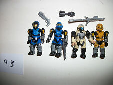Mega Blocks Minifig Figure Halo Spartans Alien Space Soldier Lot x4 Xbox Toy #43