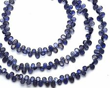 "Natural Gem Iolite Smooth 4x6MM Pear Shape Briolette Beads 9"" Water Sapphire"