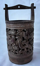 Antique Chinese Small Wooden Bucket/Brush Pot w/Carved Phoenix and Dragon