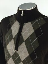 Marco Fiori 1/2 Zip 100% Fine Merino Wool Argyle Sweater M Brown Pullover Italy