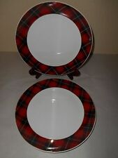 4 GRACE'S TEAWARE Plaid RED & BLACK Dinner Plates CHRISTMAS Gold Accents