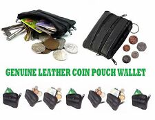 Ladies Kids Mens Genuine Real Leather Small Coin Card Wallet Pouch Purse 'zip4Cn