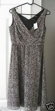 Tahari Textured Floral Sleeveless Dress Empire Waist Black White 6 Med $188