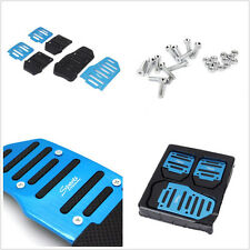 Blue Manual Aluminium 3 x Car Nonslip Brake Clutch Pedal Cover Set Foot Treadle