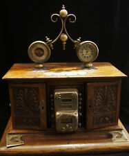 C.1900 VICTORIAN ANTIQUE UNIQUE DESK SET WOOD CLOCK INKWELL STERLING SILVER