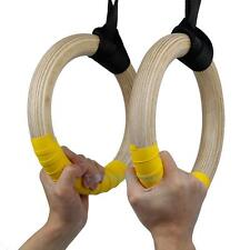 Wooden Gymnastic Olympic Wood Rings with Buckle Straps Strength Gym Training New