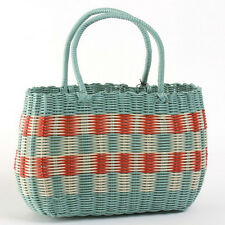 RETRO Woven Shopping Basket Vintage Style 1940s and 50s Style Aqua, Cream, Red