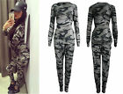 New Ladies Women Army Camouflage Print 2 Piece Tracksuit Jogging Lounge Suit