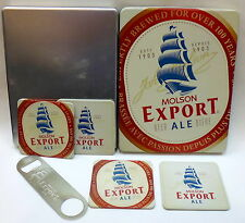 Set of 4 Metal Cork Backed Coasters and Bottle Opener Molson Export Ale Tin case
