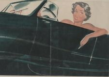 """PIN-UP en AUTOMOBILE"" Affiche originale entoilée CAROLS (BRENOT) 1950  50x34cm"