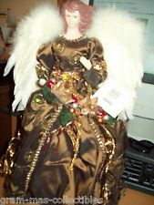 CHRISTMAS ANGEL TREE TOPPER BROWN DRESS W/ RIBBONS HOLDING FLOWERS FEATHER WINGS