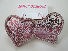 NWT Auth Betsey Johnson Pink Filigree Heart Rhinestone Dangle Drop Earrings