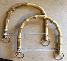 Bambou bois sac à main sac à main poignées avec boucles rockabilly, rétro vintage, 1 paire