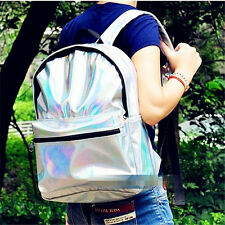 New Girl Womens Silver PVC Hologram Holographic Leather School Backpack Tote Bag